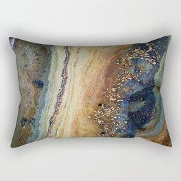 Nature Study Rock Pool Ocean Breeze Digitally Enhanced Photo Close to Nature Green Orange Blue Rectangular Pillow