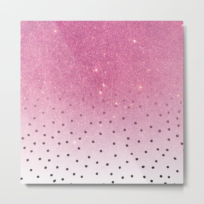 Black white polka dots pink glitter ombre Metal Print