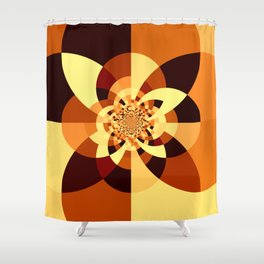 Orange Brown Kaliedoscope Shower Curtain