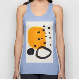 Unique Abstract Unique Mid century Modern Yellow Mustard Black Ring Dots Unisex Tank Top