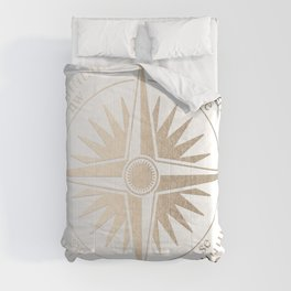 Gold on White Compass Comforters