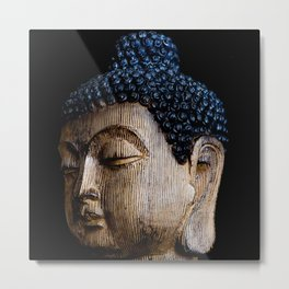 A Buddhist Statue in a Zen Moment with black background Metal Print