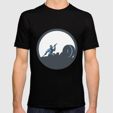 Rower Rowing Paddling Rowing Machine Circle Retro Black LARGE Mens Fitted Tee