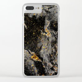 Galaxy (black gold) Clear iPhone Case
