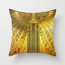 Empire State Building Lobby Art-Deco Sunburst Portrait Throw Pillow