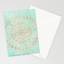 Mint and gold mandala Stationery Cards