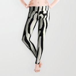 Zebra Stripes Tribal Black and Cream Leggings