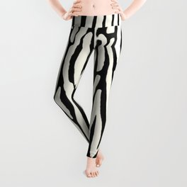 Zebra Stripes Tribal Black and Cream Leggings