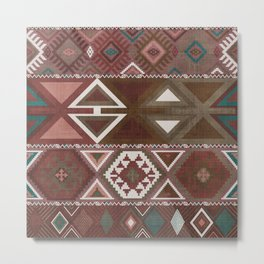 Aztec Artisan Tribal in Sienna Metal Print