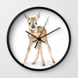 Deer Fawn Standing -Horizontal format - Watercolor Painting Wall Clock