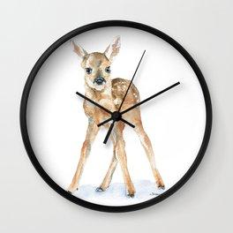 Deer Fawn Standing -Horizontal format - Watercolor Painting Wall Clock