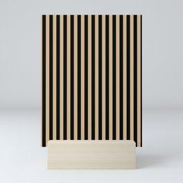 Tan Brown and Black Vertical Stripes Mini Art Print