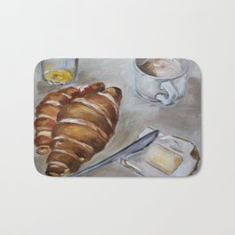 French breakfast, coffee and croissant, original oil painting, daily traditional art Bath Mat
