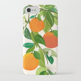 Oranges and Blossoms II / Tropical Fruit Illustration iPhone Case