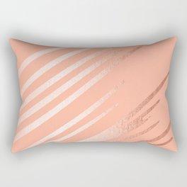 Sweet Life Swipes Peach Coral Shimmer Rectangular Pillow