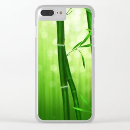 Bamboo Stalks with a Green Bokeh Background Clear iPhone Case