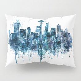 Seattle Skyline monochrome watercolor Pillow Sham