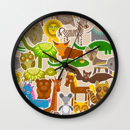 collection Funny cartoon Animals seamless pattern on beige background. Vector Wall Clock