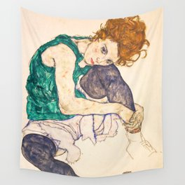 """Egon Schiele """"Seated Woman with Legs Drawn Up"""" Wall Tapestry"""
