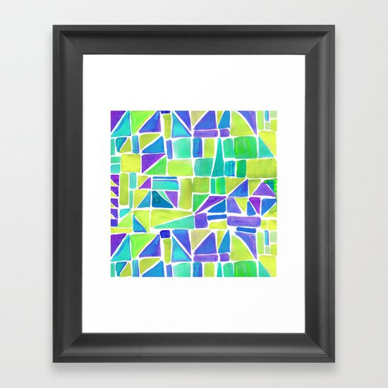 Watercolour Shapes Lemon Framed Art Print