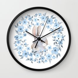 Rabbit and floral wreath. Watercolor Wall Clock