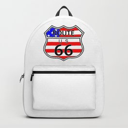 Route 66 Highway Sign With Flag Backpack