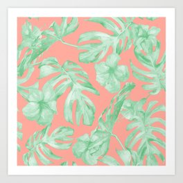 Tropical Palm Leaves Hibiscus Flowers Coral Green Art Print
