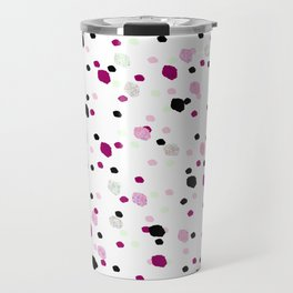 Abstract pink mint green black watercolor brushstrokes confetti Travel Mug