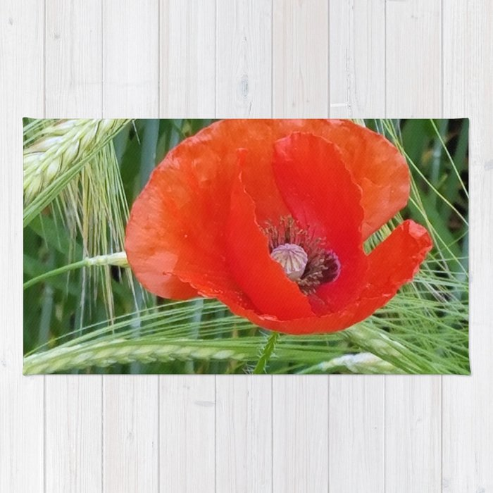 The Red Poppy in the Field Rug