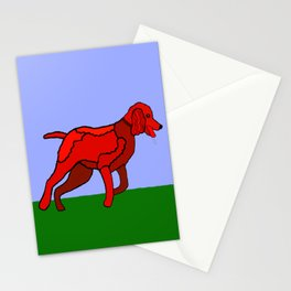 Romping Miniature Apricot Poodle Cartoon Stationery Cards