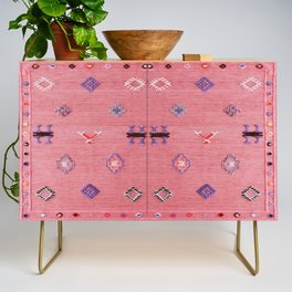N61 - Lovely Pink Traditional Boho Farmhouse Moroccan Style Artwork Credenza