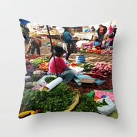 peru Throw Pillows featuring PERU by Camille Defago