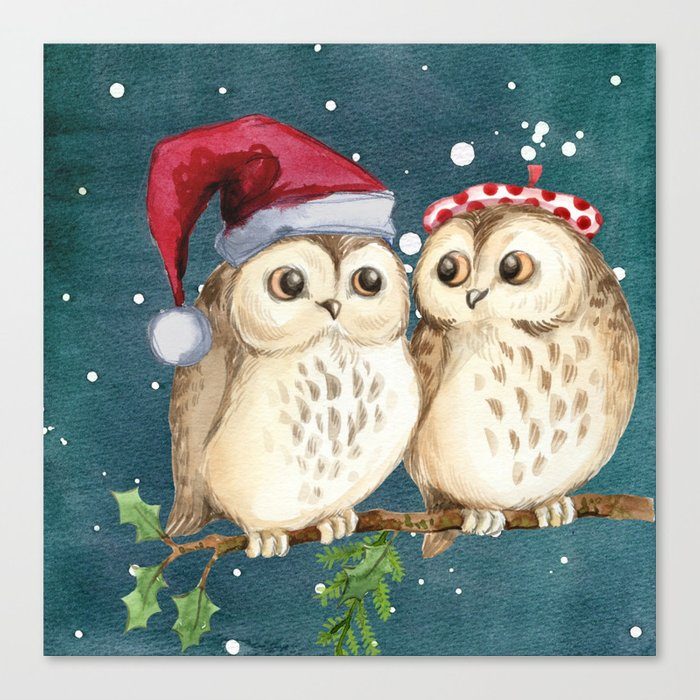 Cute Christmas Winter Owl Couple Painting Canvas Print By Shirtsandgifts Society6