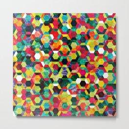 Colorful Half Hexagons Pattern #02 Metal Print