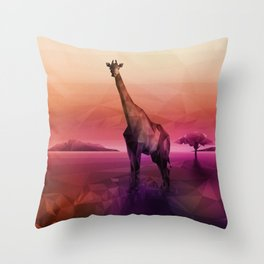 Giraffe (Low Poly Pink) Throw Pillow