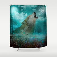 hobbes Shower Curtains featuring I'll See You In My Dreams (Cry of the Wolf) by soaring anchor designs