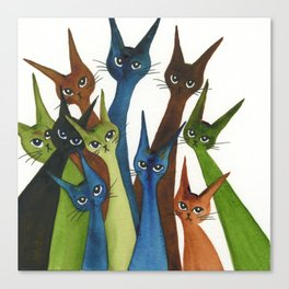 Cordoba Whimsical Cats Canvas Print