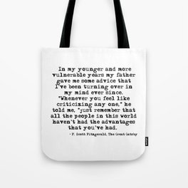In my younger and more vulnerable years - F Scott Fitzgerald Tote Bag