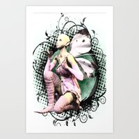 Pink Butterfly Fairy Kneeling Art Print