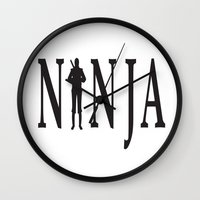 ninja Wall Clocks featuring NiNJA by chanchan