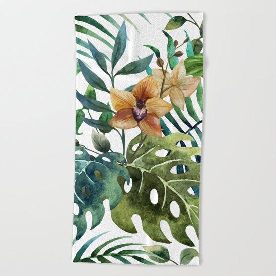 Tropical Floral Pattern 03 Beach Towel