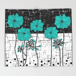 Turquoise flowers on black and white background . Throw Blanket