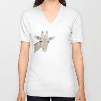 giraffe V-neck T-shirts featuring Giraffe by Kayla Cole