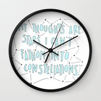fault in our stars Wall Clocks featuring The Fault in Our Stars by Christa Morgan ☽