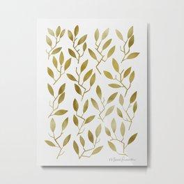 Leafy Twigs - Gold Metal Print