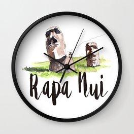 Rapa Nui watercolor Wall Clock