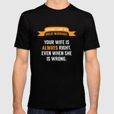 Wife is Always Right. MEDIUM Black Mens Fitted Tee