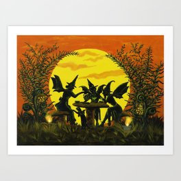 "Halloween witches floor mat ""Reading the tea leaves..."" Art Print"
