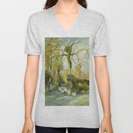 """Camille Pissarro """"The Goose Girl at Montfoucault (White Frost)"""" Unisex V-Neck"""