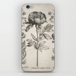 Antique floral black and white chinoiserie flower vintage Paris flowers French botanical goth print iPhone Skin